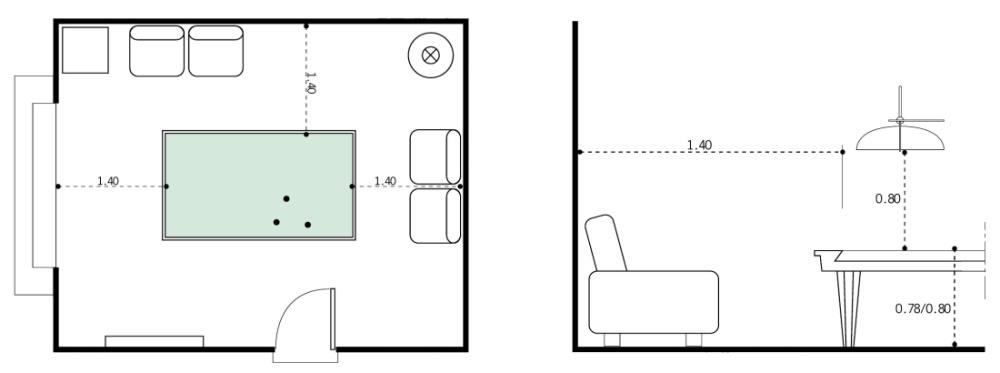 Medidas Estandar De Sala De Estar ~ mínima de la mesa de 80 cm espacio y medidas